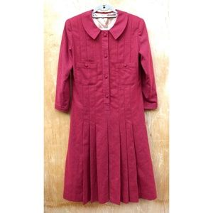 Vintage pleated long sleeve midi button up dress
